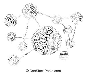 salário, conceito, palavra, texto, valor, aumento, fundo, seu, nuvem