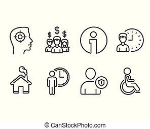 salário, incapacitado, trabalhando, empregados, recrutamento, horas, icons., segurança, esperando, signs.