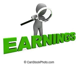 salário, personagem, mostra, ganhando, rendimento, e,...