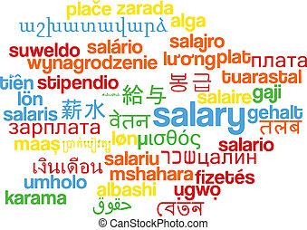 salário, wordcloud, conceito, multilanguage, fundo