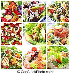 saláták, kollázs