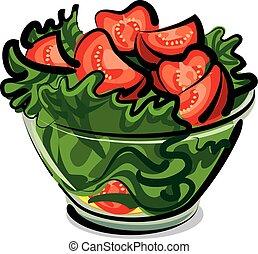 salát, s, rajče