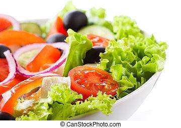 salát, s, zelenina, a, lakovat koho