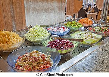 saláta, kiválasztás, alatt, egy, hotel, büfé