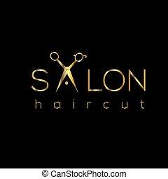 salão, aparência, penteado, logo., corte cabelo, cabelo