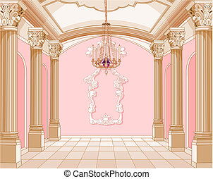 salão baile, de, magia, castelo
