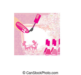 salão, beleza, abstratos, manicure, cartão