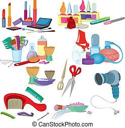 salão beleza, escovas, compor, manicure, ícone, jogo