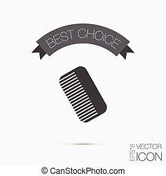 salão, beleza, símbolo, cabelo, comb., barbershop.