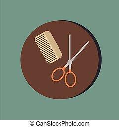 salão, beleza, símbolo, cabelo, scissors., pente, barbershop.