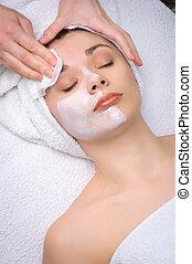 salão beleza, series., máscara facial, removendo