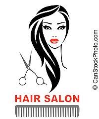 salão cabelo, ícone, com, rosto mulher, e, tesouras
