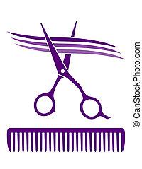 salão cabelo, ícone