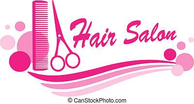 salão cabelo, sinal, com, tesouras