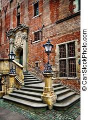 salão cidade velho, escadas, -, gdansk, -, polônia