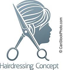 salão, conceito, cabeleireiras, cabelo, mulher, tesouras