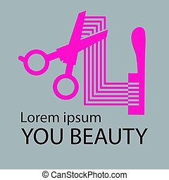 salão, cosmético, cabelo, logotipo, logotipo, design.
