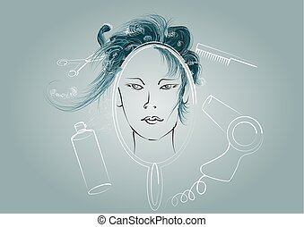 salão, ilustração, hairdressing