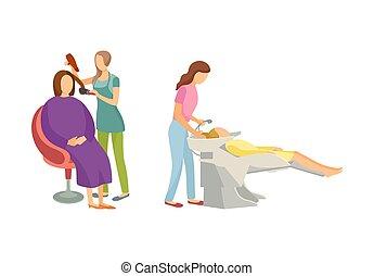 salão, jogo, beleza, cabelo, spa, caricatura, procedimento
