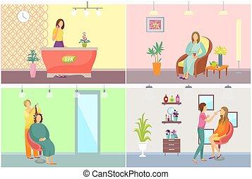 salão, jogo, cabelo nomeando, vetorial, recepcionista, spa