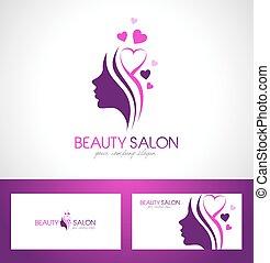 salão, logotipo, beleza, desenho