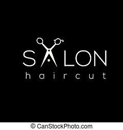 salão, logotipo, penteado, logo., corte cabelo, cabelo