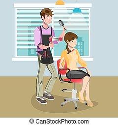 salão, mulher, beleza, cabeleireiras