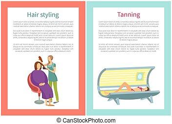 salão, mulher, cabelo nomeando, vetorial, bronzeando, spa