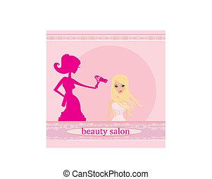 salão, mulher, estilista, cabeleireiras, secar, cabelo