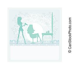 salão, mulher, hairdressing
