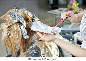 salão, mulher, highlight., hairdressing