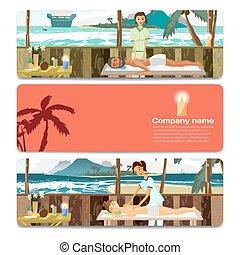 salão, mulher, pampering, card., presente, marcar, venda, desconto, praia., desenho, spa, desfrutando, mesma, dia, massagem, homem