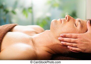 salão, rosto, spa, homem, tendo, massagem, bonito