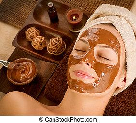 salão, spa., máscara beleza, chocolate, facial, spa