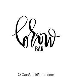 salão, vetorial, sobrancelha, logo., barras, beleza, barzinhos, sobrancelha, caligrafia