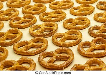 salé, fond, biscuits, pretzels