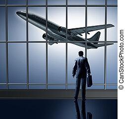 salón, aeropuerto, esperar, salida