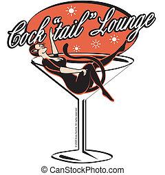 salón, barra, martini, cóctel, señal
