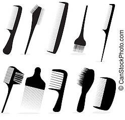 salón, belleza, colección, pelo, vector, peluquero, ilustración, peine, o