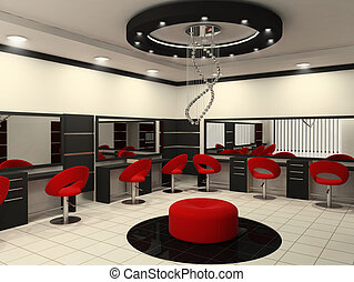 salón, belleza, techo, creativo, interior, lujoso
