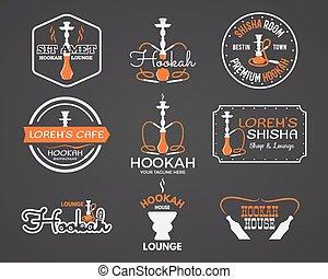 salón, collection., casa, aislado, etiquetas, café, árabe, diseño, vendimia, vector, emblem., shop., barra, insignias, elementos, shisha, logo., o, narguile, illustration.