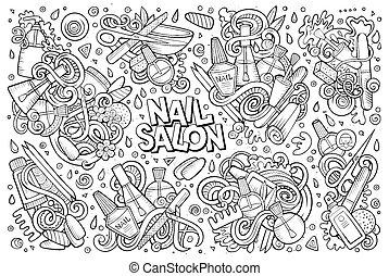 salón, conjunto, clavo, tema, vector, diseño, doodles, caricatura, elementos
