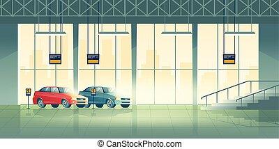 salón, consecionario de automóviles, vector, interior, sala ...