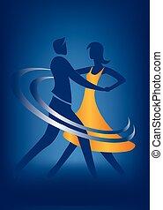 salón de baile, bailarín, pareja