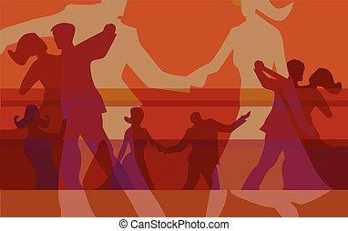 salón de baile, fondo rojo, bailando