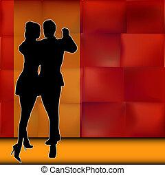 salón de baile, pareja, bailarines, proceso de llevar, rumba, plano de fondo, ilustración, norteamericano, vector, latín, baile, afuera