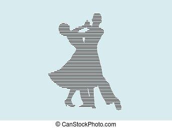 salón de baile, socio, silueta, bailarines, bailando
