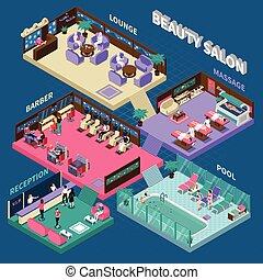 salón de belleza, multistory, isométrico, ilustración
