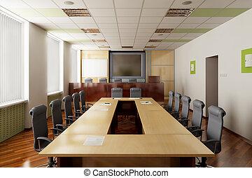 salón de conferencia, render, 3d