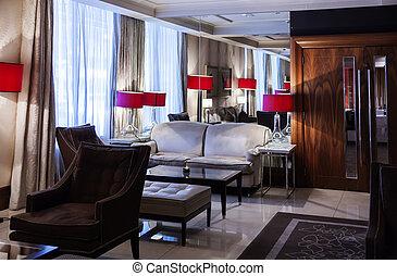 salón, en, hotel